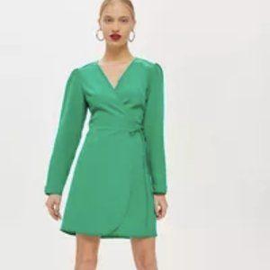 Topshop PETITE Crepe Wrap Mini Dress